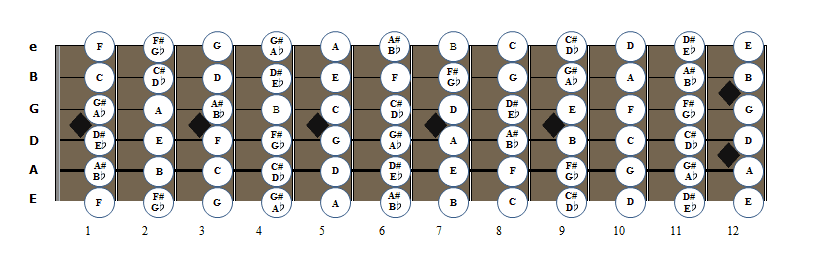 notas cuerdas matil de la guitarra